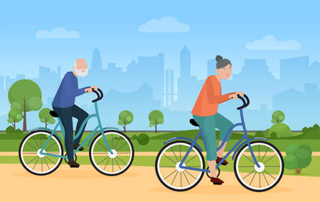 Elderly people ride bike bicycle in city park vector illustration. Cartoon cityscape with silhouettes of skyscrapers, funny bicyclist senior man woman characters cycling, healthy lifestyle background Ilustrace