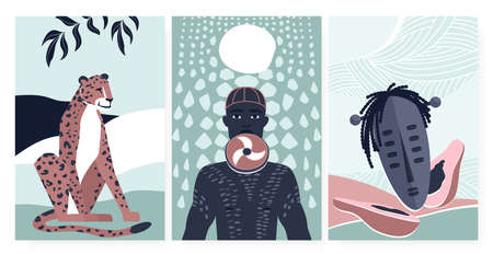 African boho summer card for wall art decor vector illustration. Cartoon simple geometric tropical papaya fruit, aborigine tribe people from Africa, jaguar animal in poster, fashion wallpaper set