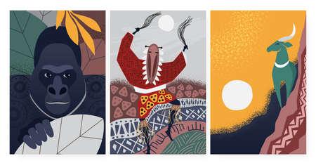 Culture symbols from Africa, tribal ethnic decorative pattern, wall art decor vector illustration. Cartoon dancing aborigine shaman on ceremony, gorilla, antelope kudu animals in african wallpaper set Ilustrace