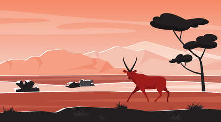 Africa wild nature landscape with African animal at sunset vector illustration. Cartoon abstract geometric savanna scenery, silhouettes of trees, antelope, heat and mountains on horizon background