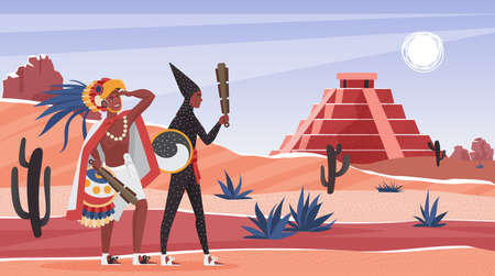 Aztec tribe people in wild desert landscape vector illustration. Cartoon warior characters standing near altar pyramid building of ancient aztec civilization, history of Mexico, education background