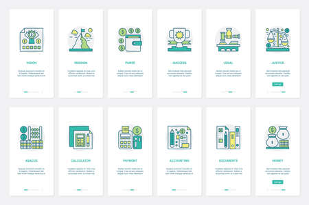 Business financial plan strategy, legal law justice vector illustration. UX, UI onboarding mobile app page screen set with line finance accounting documents, bank payment, counting report service