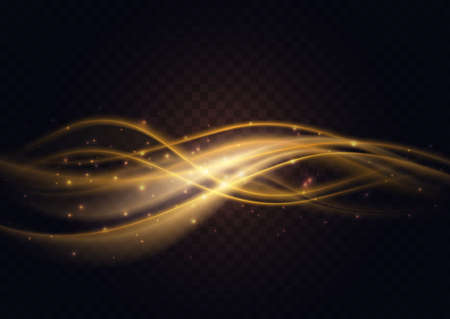 Gradient luxury golden color wave, abstract light effect vector illustration. Dynamic translucent soft stream motion, wavy flow bright curve elements isolated on transparent black background
