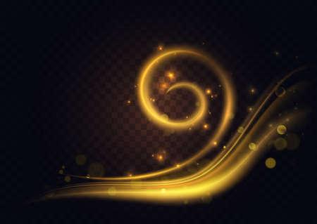 Gold twirl light effect, golden swirl energy glow vector illustration. Abstract curve spark shine trail, yellow magic bright line spiral shape shining, decoration design element on dark background