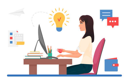 Business creative idea, work project inspiration vector illustration. Cartoon young woman office worker character sitting at computer desk and working, light bulb icon above head isolated on white