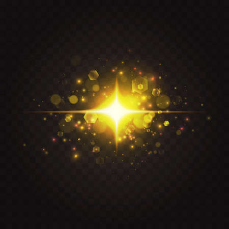 Abstract golden star sparkles, special light effect vector illustration. Abstract shiny magic explosion and lens flash glares, glow spark starlight shining with bright gold glint on dark background Ilustrace
