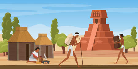 Aztec village landscape with tribe people, ancient maya civilization vector illustration. Cartoon altar pyramid building, walking mayan aztec characters among hut houses, woman cooking food background