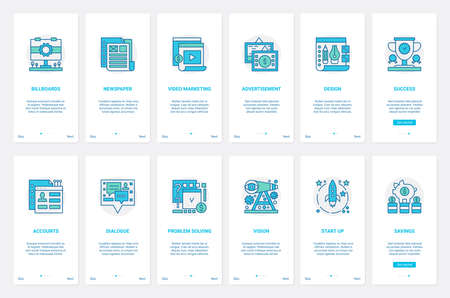 Success business startup web technology vector illustration. UX, UI onboarding mobile app page screen set with line video marketing, billboard advertising, account design, dialogue of support service Ilustrace
