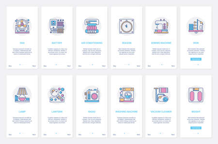 Home electronic appliances vector illustration. UX, UI onboarding mobile app page screen set with line climate control room equipment, conditioner, vacuum cleaner, washing machine to clean house
