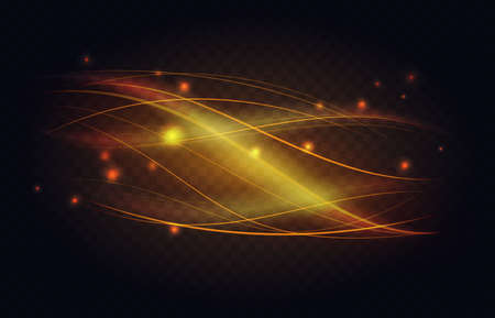 Abstract luminous line waves of golden light effect vector illustration. Wavy shiny curve stream shapes flow, luxury gold magic glitter sparkle shine with soft bright glowing in dark background Ilustrace