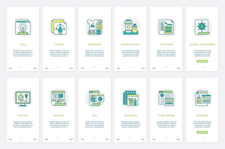 Seo, advertising services, branding technology vector illustration. UX, UI onboarding mobile app page screen set with line brand design packaging, internet hosting, blog content and html coding