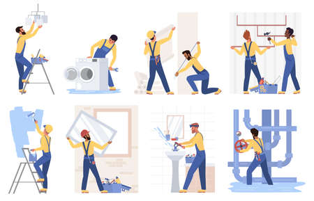 Repair construction service set vector illustration. Cartoon handyman fixing plumbing, washing machine in bathroom, plumber repairing pipe, repairman worker working with paint roller isolated on white