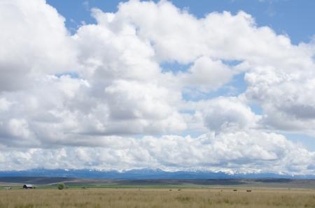 꼭대기가 눈으로 덮인: Snow-capped peaks of the Wallowa Mountain Range in Oregon