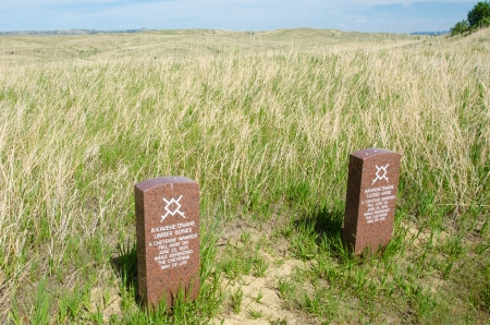 plains indian: Little Big Horn, United States, May 21, 2012 - Headstones of two Cheyenne warriors killed on June 25, 1876 while defending their way of life.