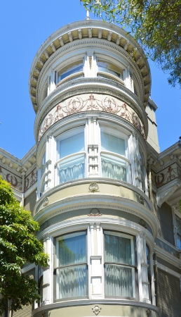 Elegant tower of Victorian home in the Queen Anne style in San Francisco
