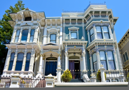 victorian style: Elegant Victorian homes in the Italianate style in San Francisco Editorial