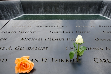 2013  Two roses are left beside the name of  Alan D. Feinberg, a fire fighter of the New York Fire Department who risked his life to save others in the aftermath of the terrorist attack on the World Trade Center.