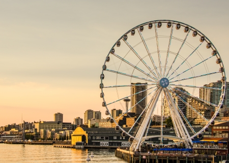 The Great Wheel on the waterfront opened in June 2012 and has become a major tourist attraction in the Pacific Northwest  Editorial