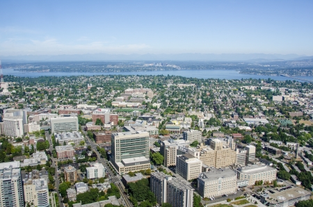 Seattle, United States, August 7, 2013 - View of the city looking east  Harborview Medical Center, in the foreground, is the regional trauma center for five states