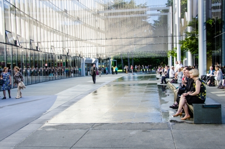 wagner: Seattle, United States, August 4, 2013 - Opera lovers wait in the walkway beside McCaw Hall for the performance to begin on opening night of Richard Wagner s Ring Cycle