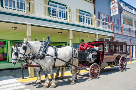 mackinac: Mackinac Island, United States, May 18, 2014 - Driver waits witha vintage horse drawn carriage for passengers along Main Street of the historic island community in Northern Michigan