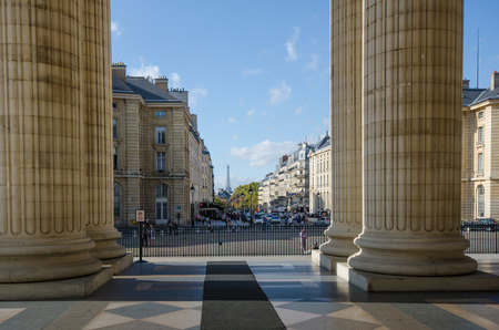 rue: Paris, France, October 19 , 2014 - Looking down Rue Soufflot from the Pantheon with the Eiffel Tower in the distance.