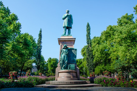 hymn: Helsinki, Finland, August 8, 2014 ? Statue of poet Johan Ludvig Runenberg is the centerpiece of the Esplanade Park in the heart of the Finnish capital.