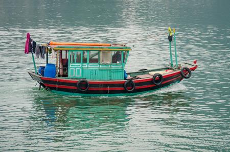 halong: Fishing boat in Halong Bay, Vietnam Stock Photo