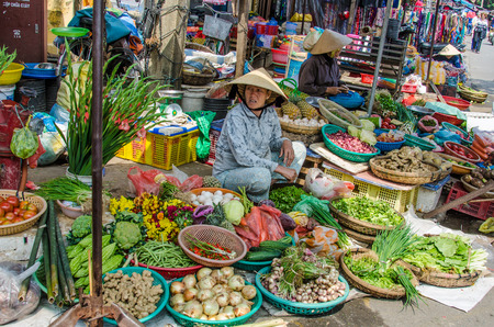chan: Chan May, Vietnam, February 10, 2015 - Fresh fruits and vegetables for sale at an outdoor market.