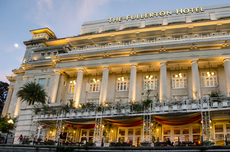 prestigious: Singapore, February 1, 2015 - The Fullerton Hotel was once home to the nation?s General Post Office, The Exchange and the prestigious Singapore Club.