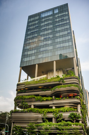lofty: Singapore, February 1, 2015 - PARKROYAL Hotel is a beautiful, award-winning eco-conscious building with lofty, lush tropical gardens on its balconies.
