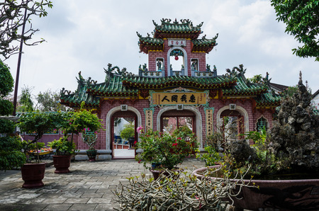 Hoi An Vietnam February 10 2015  Chinese temple in the UNESCO World Heritage Site a popular tourist destination.