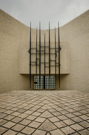 stark: Paris, France, September 8, 2015 - Deportation Memorial is a stark representation of a prison setting faced by 200,000 French Jewish citizens sent to their death at the Nazi concentration camps.