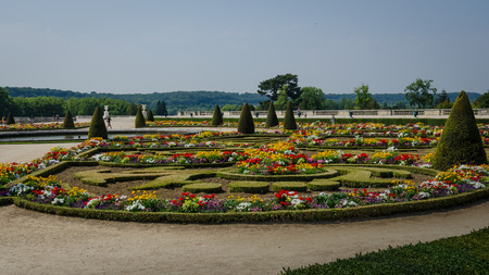 hectares: Paris, France, August 12, 2015 - The gardens at Versailles were commissioned by Louis XIV in 1661 and cover 800 hectares of land with 210,000 flowers planted annually.