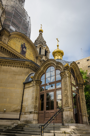 consecrated: Paris, France, August 28, 2015 - Alexander Nevsky Cathedral is a Russian Orthodox Church established and consecrated in 1861. The cathedral is the first Russian Orthodox place of worship in France and is currently undergoing extensive renovations.