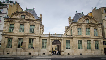sully: Paris, France, August 28, 2015 - Hotel de Sully was built as a private mansion between 1625 and 1630, in the Louis XIII style, and is located in the Marais district. Today, it is the National Monument Centre responsible for the management of historic buil