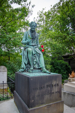 grave site: Paris, France, August 16, 2015 - Grave site in Pere Lachaise Cemetery of Vivant Denon, a French artist, author, diplomat and archaeologist who appointed as the first Director of the Louvre museum by Napoleon.