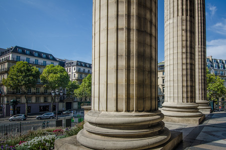 the madeleine: Paris, France, August 30, 2015 - Close-up of the columns of La Madeleine Church in Paris. Editorial