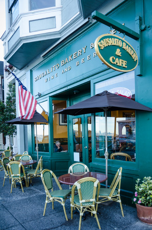 enclave: Sausalito, California, December 2, 2015 - Sausalito Bakery and Caf is located on the main street of the artistic enclave across the bay from San Francisco. Editorial