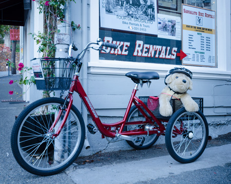 rentals: Sausalito, California, December 2, 2015 - Sausalito bike rental shop is located on the main street of the artistic enclave across the bay from San Francisco. Editorial