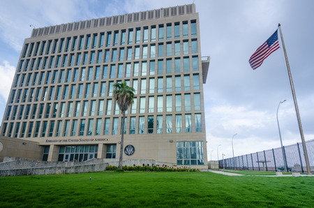 renewed: Havana, Cuba, June 20, 2016 - The Embassy of the United States of America was reopened when the United States and Cuba renewed diplomatic relations on July 20, 2015. Editorial