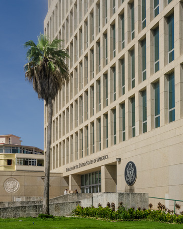 Havana, Cuba, June 20, 2016 - The Embassy of the United States of America was reopened when the United States and Cuba renewed diplomatic relations on July 20, 2015. Editorial