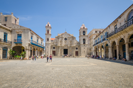 immaculate: Havana, Cuba, June 13, 2016 - The Cathedral of the Virgin Mary of the Immaculate Conception is a popular tourist destination. The Cathedral was completed in 1777 and is one of the best examples of Baroque architecture in the country.