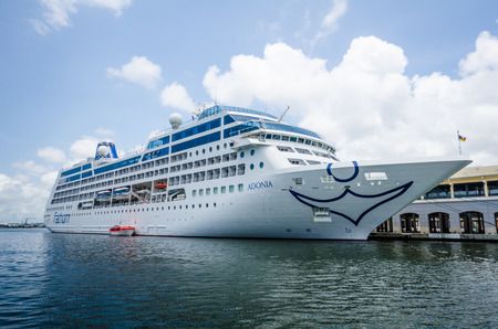 habana: Havana, Cuba, June 13, 2016 - The MV Adonia is docked in the harbor of La Habana Vieja. The Fathom cruise ship from Miami enables Americans to visit three Cuban cities for cultural exchanges.