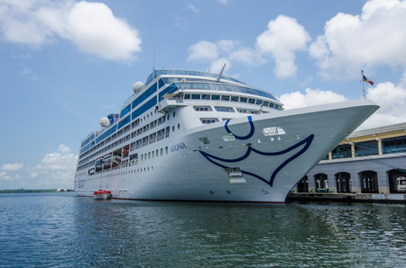 enables: Havana, Cuba, June 13, 2016 - The MV Adonia is docked in the harbor of La Habana Vieja. The Fathom cruise ship from Miami enables Americans to visit three Cuban cities for cultural exchanges.