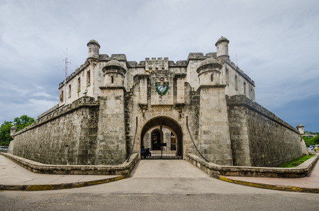 nacional: Havana, Cuba, June 20, 2016 : The Revolutionary Police Station, Policia Nacional Revolucionaria, was built in the style of an old Spanish fortress in the La Habana Vieja neighborhood. Editorial