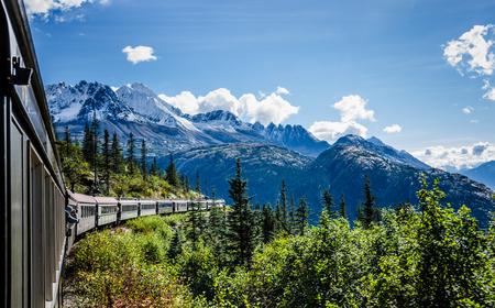 whitehorse: Skagway, Alaska, September 10, 2016 - The White Pass and Yukon Route Railroad linking the port of Skagway, Alaska, with Whitehorse, the capital of Yukon was built during the Klondike Gold Rush.