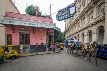 hemingway: Havana, Cuba,  June 10, 2016 - El Floridita is a historic restaurant and cocktail bar across from the National Museum of Fine Arts famous for its daiquiris and a favorite hang-out for Ernest Hemingway.