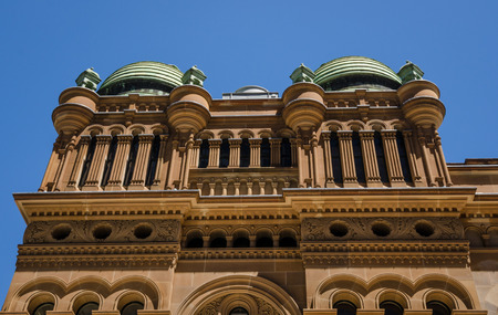 upscale: Sidney, Australia, November 4, 2016 - The roof of the historic Queen Victoria Building is dominated by a number of copper domes. The upscale shopping mall. The Romanesque revival architecture was in the city center.