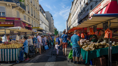 Paris, France,  August 29, 2015 -  The open-air market in the Bastille district is one of the largest and busiest in the city selling fresh produce from France and other European countries.